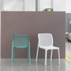 Bit - Polypropylene chair, stackable, available in several colours, also for garden