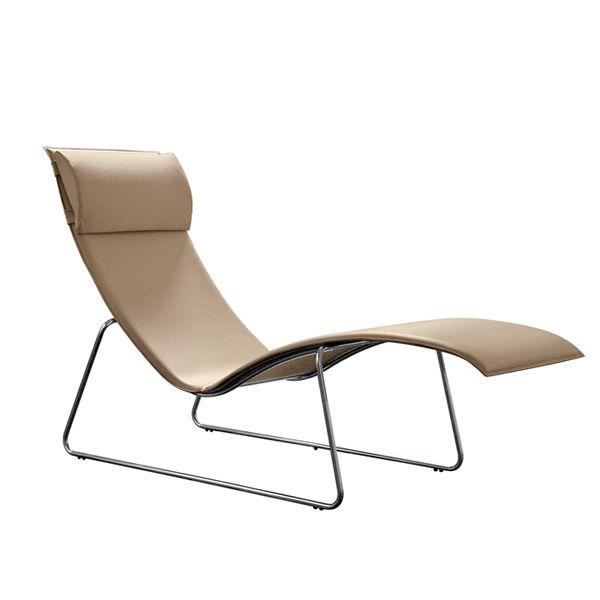 Relax chaise longue midj en m tal et cuir en diff rentes - Chaise longue en cuir ...