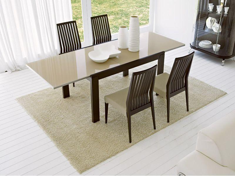 Cs4004 vero tavolo calligaris in legno piano in vetro serigrafato cappuccino - Tavolo calligaris in vetro ...