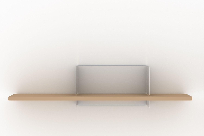Clip M  Mensola in legno di rovere e metallo laccato bianco