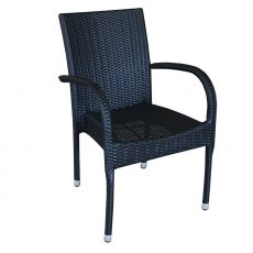 A81E - Stacking armchair in aluminium and synthetic rattan, for outdoor, available in different colours