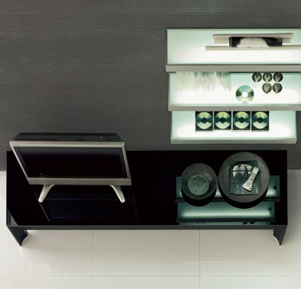 Miami 6205 meuble porte tv tonin casa en aluminium et for Meuble porte verre