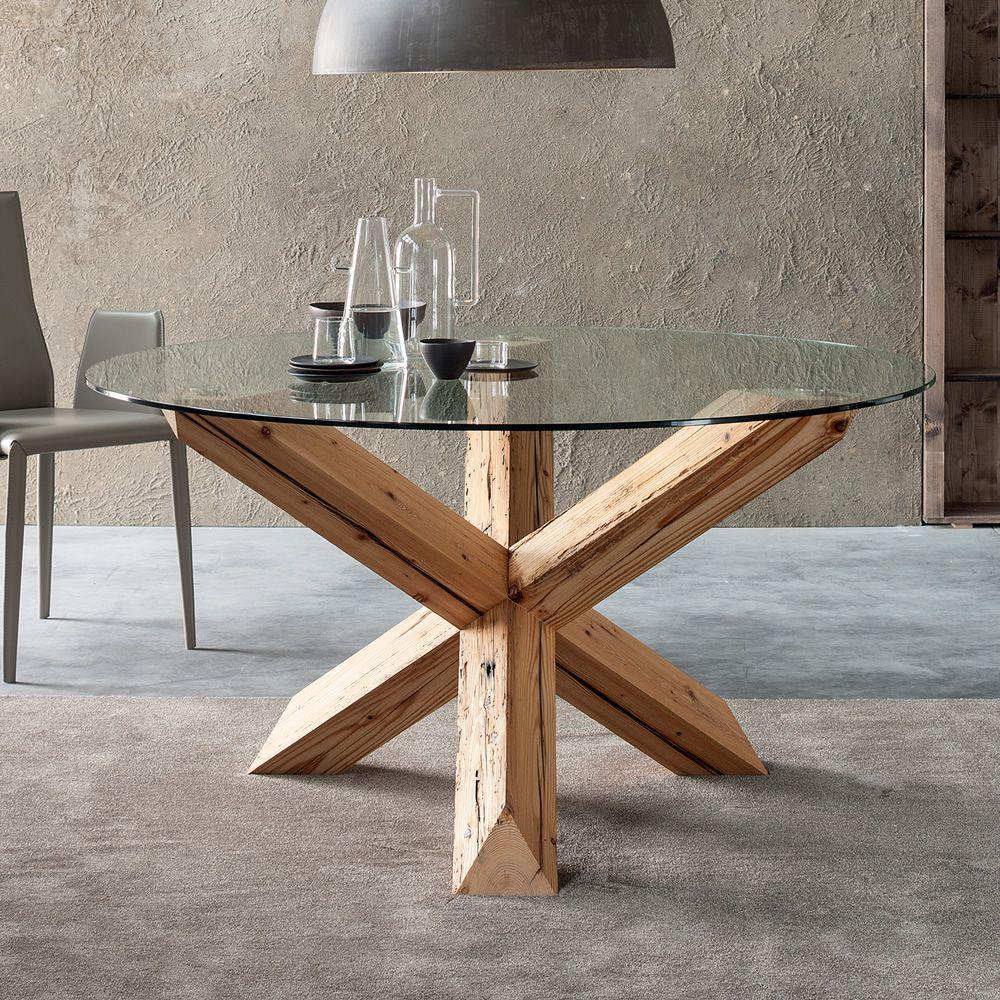Anassagora mesa de madera fija con tapa en cristal for Mesas de madera con cristal