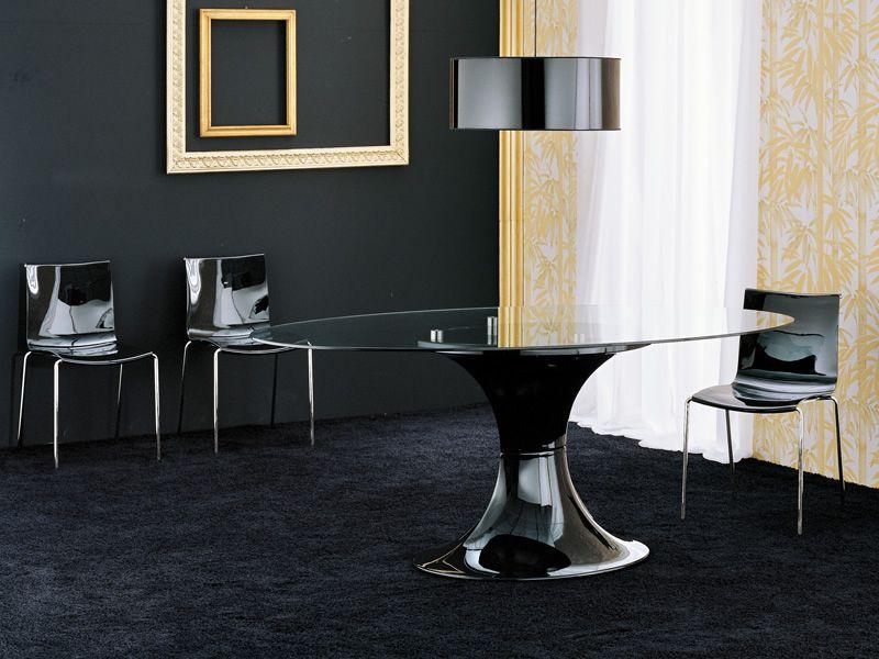 London - Tavolo fisso Midj in policarbonato, piano ovale in vetro 200 x 110 cm, diversi colori ...