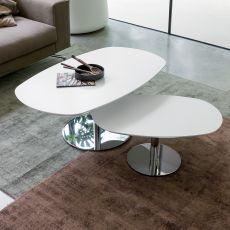 Ambo - Tavolino Dall'Agnese in metallo, piano ovale in legno laccato, diversi colori e misure disponibili