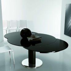 Giro - Table design ronde de Bontempi Casa, à rallonge, diamètre de 130 cm, comportant un piétement central en métal et un plateau en verre, disponible en différentes finitions