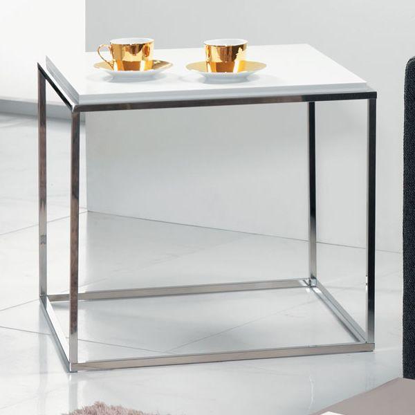 Lamina Q - Tavolino quadrato in metallo con piano in ...