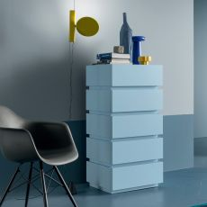 Super-D - Dall'Agnese high chest of drawers made of wood, different finishes available, five drawers