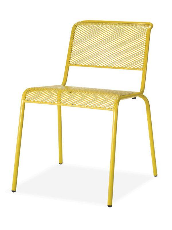 Nassa | Metal Chair, Stackable, Outdoor And Indoor Use, Yellow Varnished