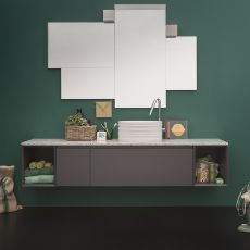 45 C - Sink cabinet with marble top, 2 drawers, available in several colours