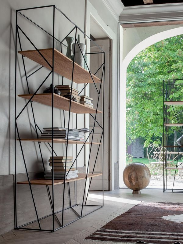naviglio 7247 tonin casa bookcase made of metal with. Black Bedroom Furniture Sets. Home Design Ideas