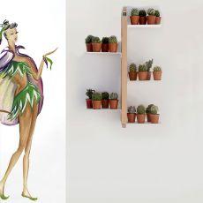 Zia Flora S - Porta vasi verticale, sospeso e fissato a parete, in legno massello, disponibile in diverse dimensioni e colori