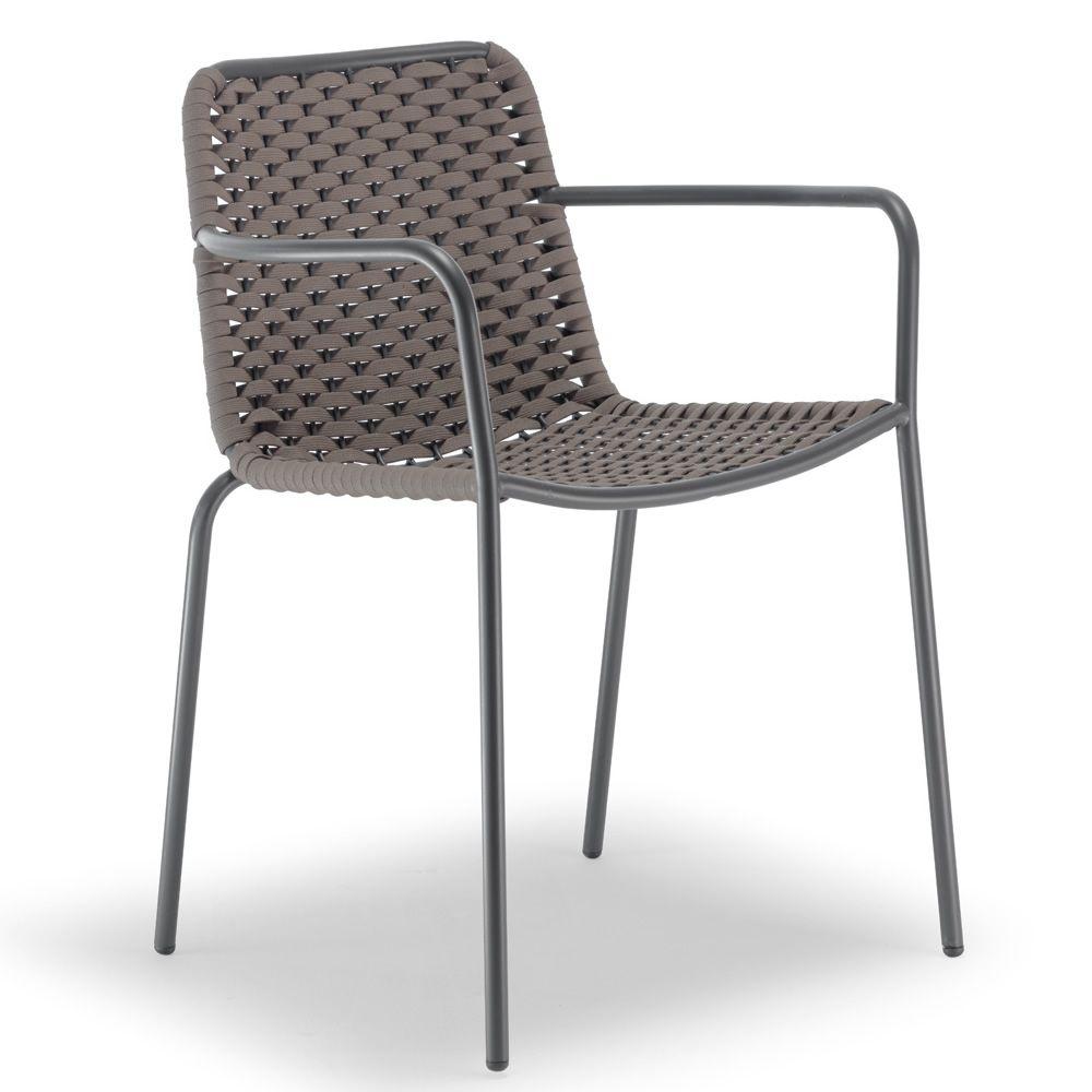spiga f r bars und restaurants barstuhl mit armlehnen aus metall mit bezug aus textilene und. Black Bedroom Furniture Sets. Home Design Ideas