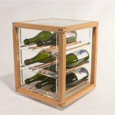 Zia Babele Bot - Portabottiglie di design, in legno di rovere naturale, disponibile in diverse dimensioni