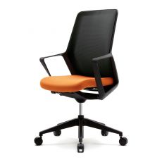 Flo Black - Design task chair for office, with padded seat, backrest in net, available in different colours