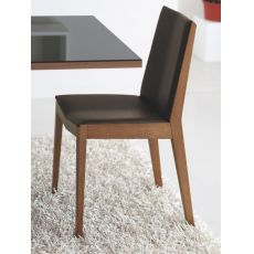 611 - Wooden chair, padded seat covered with imitation leather in mocha brown colour