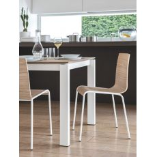 CB102 Online - Connubia - Calligaris stackable chair made of metal and plywood, different finishes available