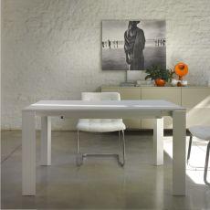Pascal - Table design de Bontempi Casa, 160 x 90 cm extensible jusqu'à 319 cm, en aluminium avec plateau en différents matériaux, disponible dans un large choix de couleurs