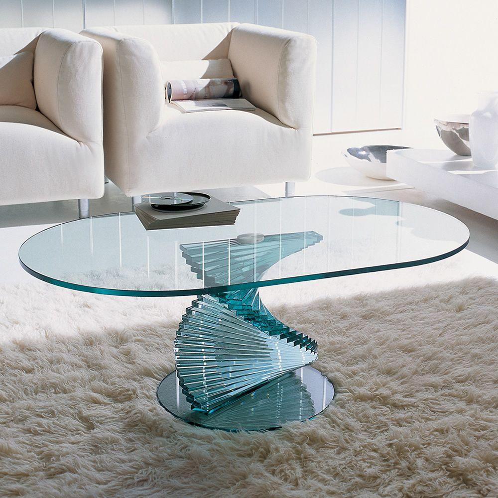Ariel 6832 tavolino tonin casa in vetro piano ovale 100 for Case in vetro