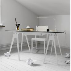 Arco - Wooden writing desk, glass top 150 x 75 cm, with drawer, different finishes available