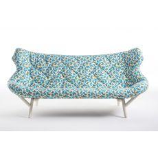 Foliage Sofa by Sottsass - Divano di design serie Kartell goes Sottsass, 2 posti, con struttura in metallo, disponibili diversi tessuti disegnati da Ettore Sottsass e Nathalie du Pasquier