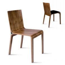 Challenge - Sedia di design Tonon, in legno di diversi colori, sedile con o senza cuscino in vari rivestimenti