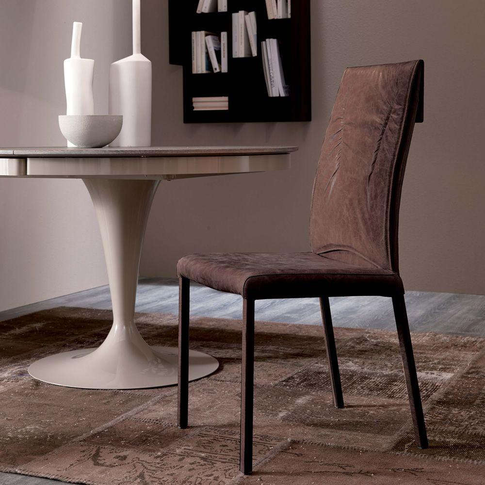 Luxy sedia moderna in metallo rivestita in pelle for Sedie in cuoio
