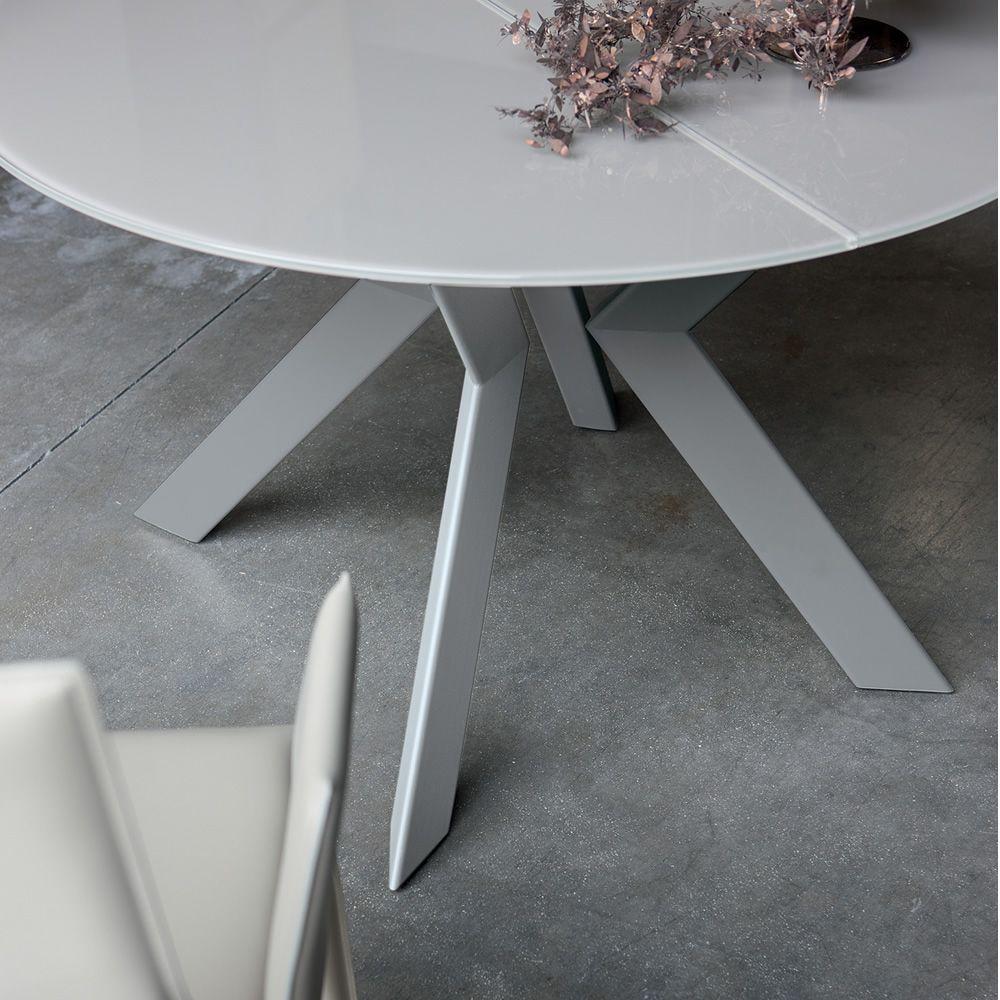 Armenida - Tavolo di design rotondo, fisso o allungabile, con ...