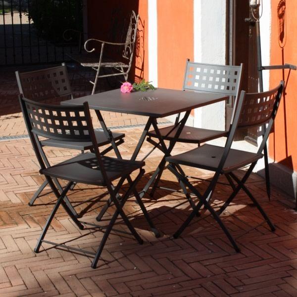 Zeus table pliante en acier 70x70 cm utilisation en for Table exterieur 70x70