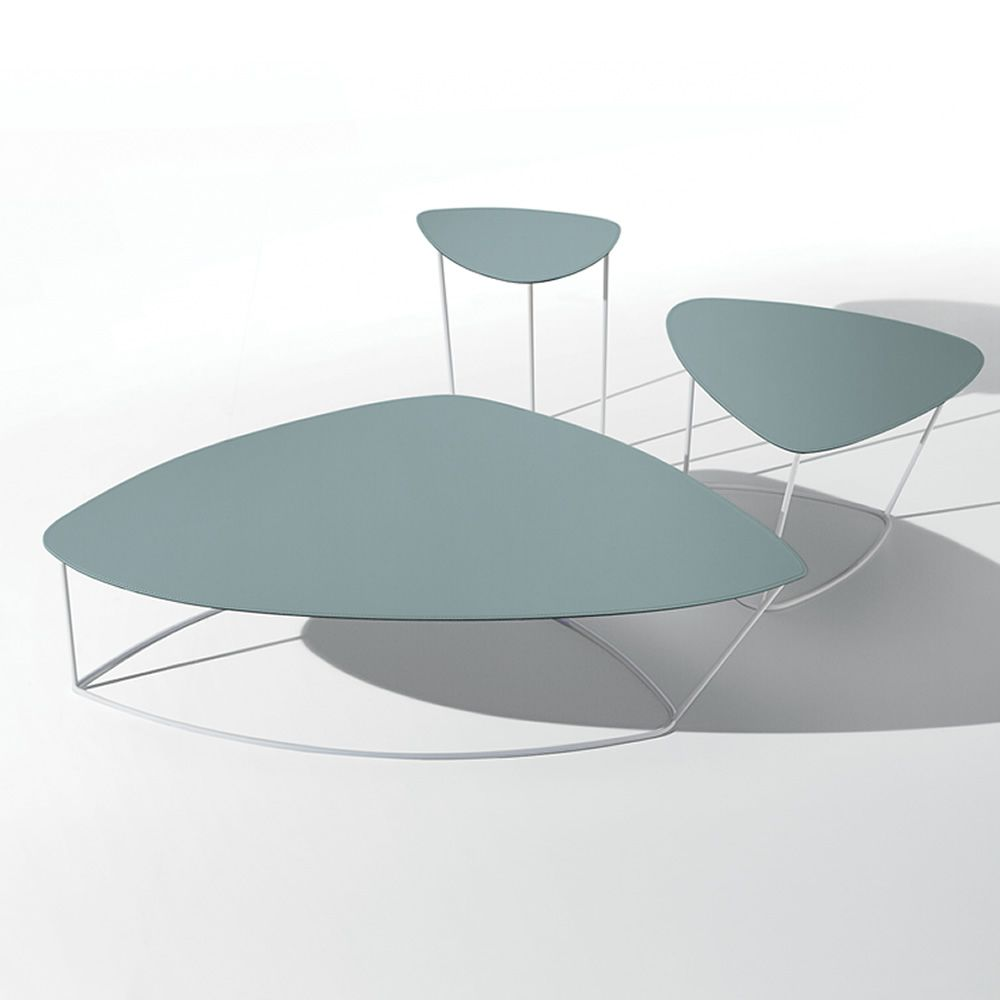 Dj Midj Coffee Table With Round Hide Top Different Sizes: Midj Side Table Made Of Metal And Natural Hide