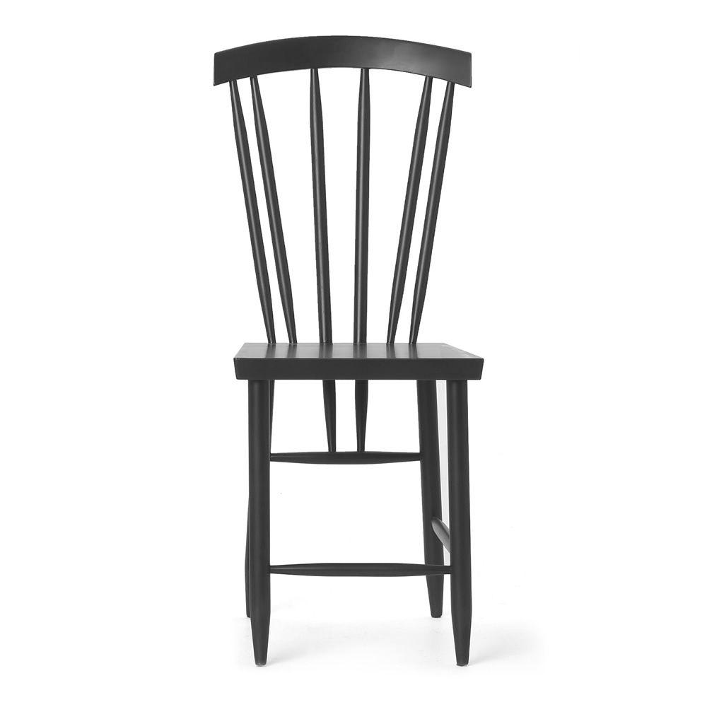 family no 3 chaise en bois de h tre laqu blanc ou noir dossier haut lattes sediarreda. Black Bedroom Furniture Sets. Home Design Ideas