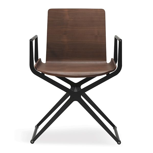 Captivating Ciak   Modern Chair In Black Varnished Metal, Canaletto Walnut Seat ...