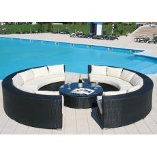 Atollo - Set da giardino per esterno, con due divani a semicerchio e tavolino rotondo, in alluminio e simil rattan, disponibile in diversi colori