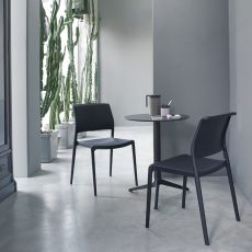 Ara 310 - Stackable bar chair in polypropylene, suitable for outdoor, available in different colours
