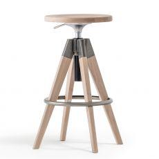 Arki-Stool - Taburete Pedrali en madera y metal, giratorio y regulable en altura, disponible en varios colores