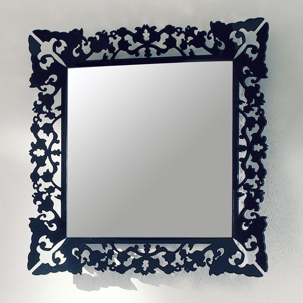 Retr miroir de colico design en m thacrylate noir for Miroir carre noir