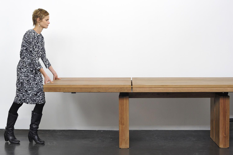 double ta table ethnicraft en bois de teck plateau 200 x. Black Bedroom Furniture Sets. Home Design Ideas