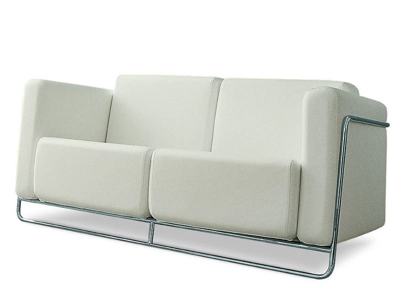 Flat 2 - Divano Midj in metallo con seduta in similpelle o tessuto, diversi colori disponibili ...