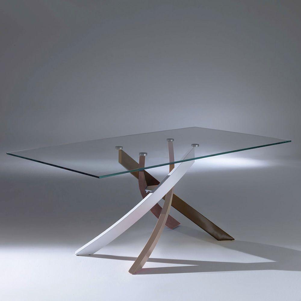 Artistico glass tavolo di design di bontempi casa fisso - Base per tavolo cristallo ...