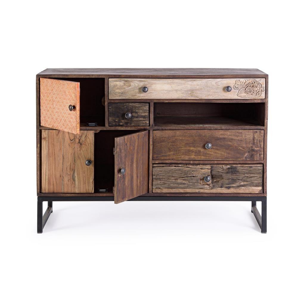 Abuja 3a 4c mobile vintage per soggiorno in legno con for Mobili soggiorno legno
