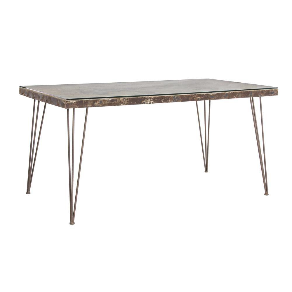 Lagos t tavolo urban style in metallo con piano in mdf - Tavolo con piano in vetro ...