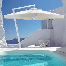 OMB36 - Parasol de jardín con brazo lateral de aluminio color blanco, cuadrado o rectangular