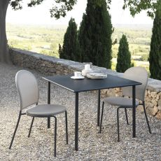 Curvy - T - Metal table, 80x80 cm, stackable, available in several colours