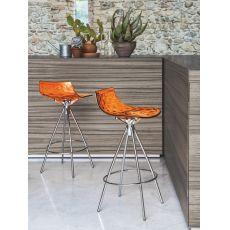 CS1049 Ice - Sgabello Calligaris in metallo, seduta in SAN arancio, altezza seduta 65 cm