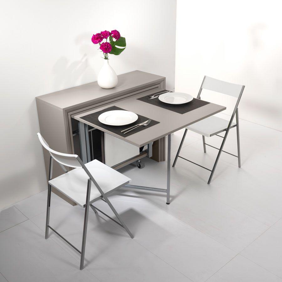 archimede set - set consolle con tavolo pieghevole 170 x 90 cm e 6
