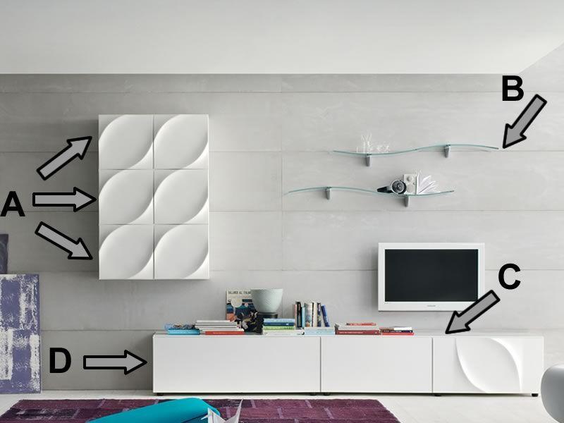 leaves h composition de meubles pour zone jour tonin casa en mdf laqu en diff rentes couleurs. Black Bedroom Furniture Sets. Home Design Ideas