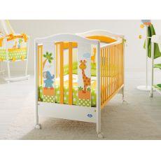 Gigi & Lele - Lettino Pali in legno con cassetto, rete a doghe regolabile in altezza