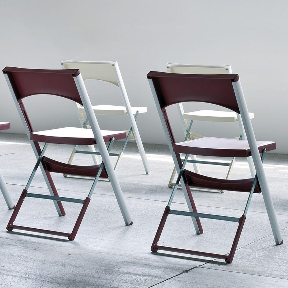 Compact sedia pieghevole anche per esterno in metallo e for Sedie alluminio