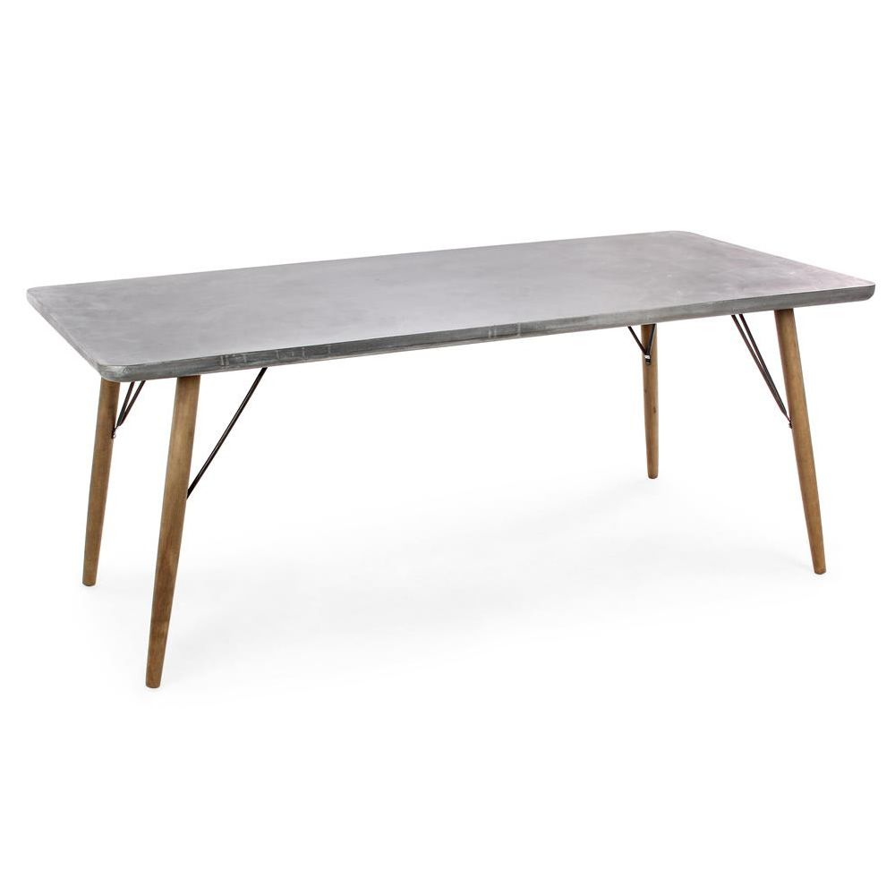 Cairo design table wooden frame and mdf effect concrete top round or rectangular sediarreda - Concrete effect tafel ...