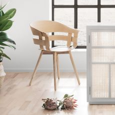 Wick-W - Wooden chair, also with seat cushion, different finishes available